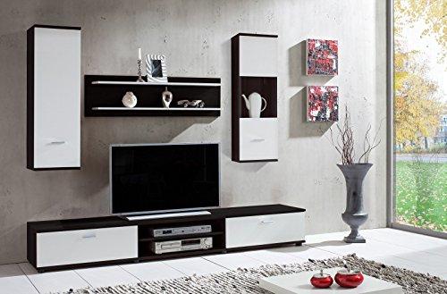 Wohnwand 'Wow' Dunkelbraun Weiß Wohnzimmerschrank Tv Wand Holzdekor