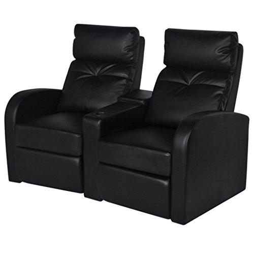 vidaXL Cinema Sessel Kinosessel Heimkino Fernsehsessel Relaxsessel Kunstleder 2-Sitzer