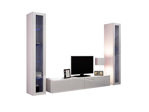 Wohnwand VIGO V Anbauwand Modernes Wohnzimmer set, Mediawand, Glasvitrine, Hängeschrank TV-Schrank (mit blauer LED Beleuchtung, Weiß / Weiß Hochglanz)