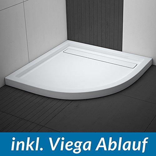 AQUABAD® Duschwanne Comfort Linea Flat 90x90cm Viertelkreis inkl. Viega Domoplex Ablauf waagerecht