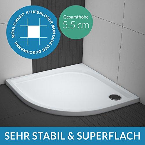 Duschwanne/Duschtasse AQUABAD® Comfort Praktica | Maße: 90x90cm viertelkreis R55 | Sehr stabil und flach