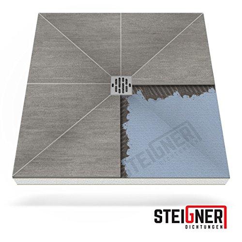 Duschelement MINERAL PLUS Duschboard befliesbar 80x120 cm Ablauf SENKRECHT - EPS Bodenelement ebenerdig barrierefreie Duschwanne bodengleich