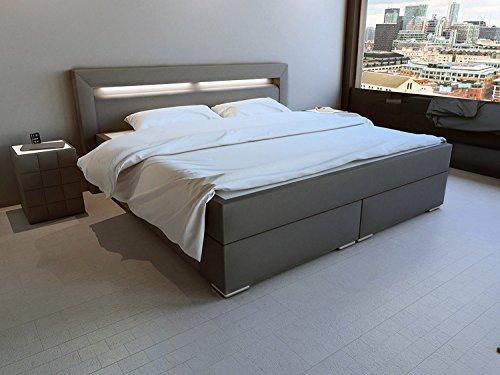 SAM® LED-Boxspringbett 180x200 cm, Austin, Kunstleder grau, Bonellfederkern-Matratze H3, Topper