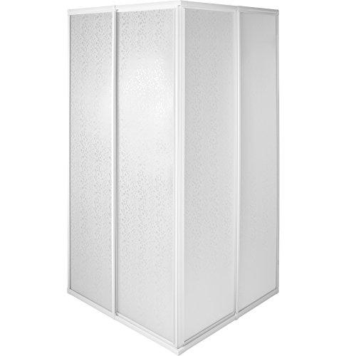 TecTake Duschkabine Duschabtrennung Eckeinstieg | Rostfreier Aluminiumrahmen | 2 Schiebetüren aus Kunststoff | (LxBxH): 80 x 80 x 185 cm