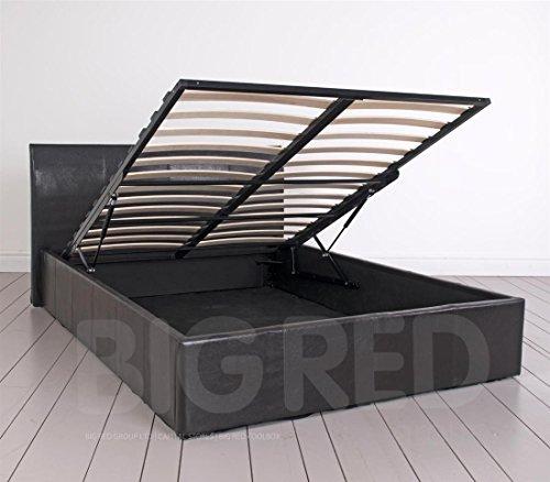 4'15,2cm Leder Double Bett mit Stauraum in braun | nur Rahmen | niedrigem Fußteil