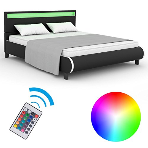 Homelux LED Bett PU Polsterbett Kunstlederbett Doppelbett Bettgestell Bettrahmen 160 x 200 cm Schwarz