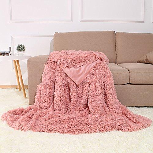 Kuscheldecke PV Longhair Flauschig Tagesdecke Microfaser Kunstfell TV Decke Klimaanlage Decke für Couch Bett