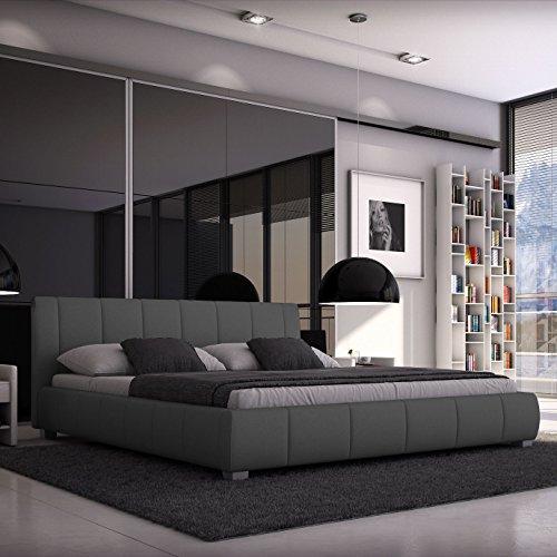 Luna Polsterbett 140x200 cm Doppelbett / Bett / Designerbett / Kunstleder grau