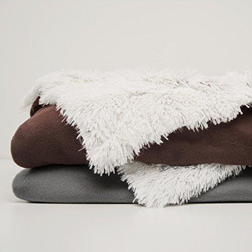CelinaTex Tagesdecke Fell Kuscheldecke Sofaüberwurf XXL Flokati Wohndecke kuschelig flauschig Longhair Minka grau creme weiß braun