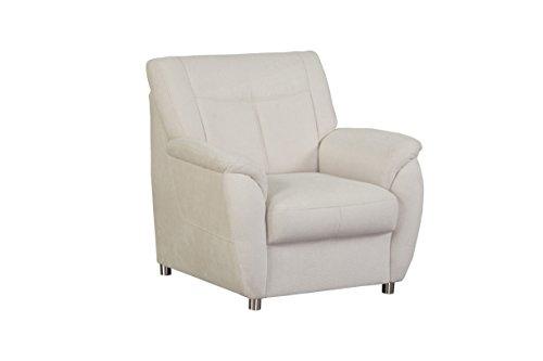 Cavadore Sessel Sunuma mit Federkern / Moderner Polstersessel passend zum Sofa Sunuma / Größe: 95 x 91 x 90 cm (BxHxT) / Farbe: Creme (beige)