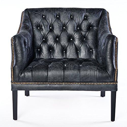 Phoenixarts Chesterfield Ledersessel Schwarz Vintage Antik Look Sessel Lounge Leder Clubsessel mit Nietenbesatz 664