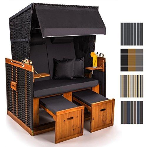 Sanzaro Strandkorb XL120 cm Deluxe Zweisitzer Holz und Poly-Rattan Sylt Ostsee Volllieger inkl. 4 x Kissen klappbare Rückenlehne 2 Personen Grau