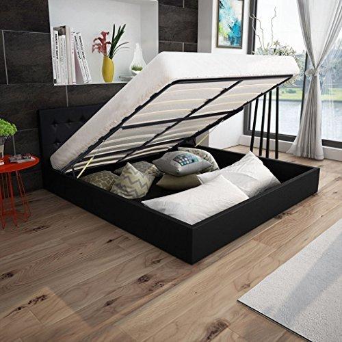 Festnight Polsterbett Doppelbett Bett Ehebett aus Kunstleder mit Bettkasten 180x200cm ohne Matratze Schwarz
