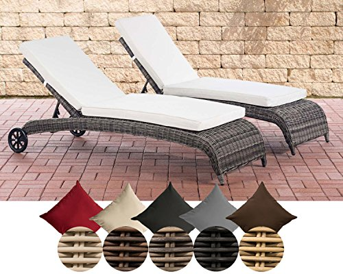 CLP 2x Polyrattan-Sonnenliege ASTI | Wellnessliege mit Laufrollen | Sonnenliege mit verstellbarer Rückenlehne | In verschiedenen Farben erhältlich