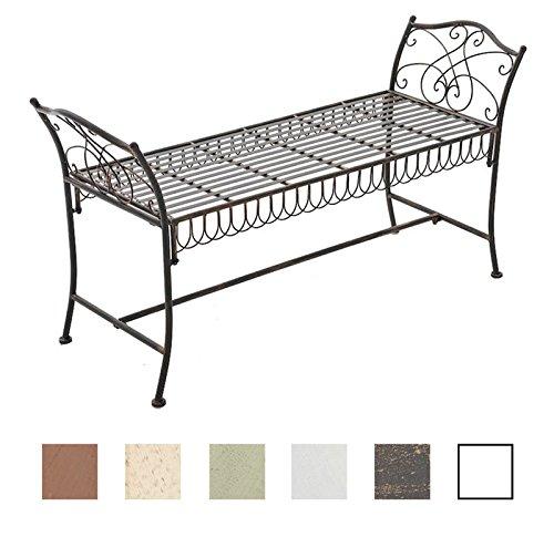 CLP Gartenbank SHERAB im Landhausstil | Chaiselongue aus lackiertem Eisen | Sitzbank mit kunstvollen Verzierungen | In verschiedenen Farben erhältlich