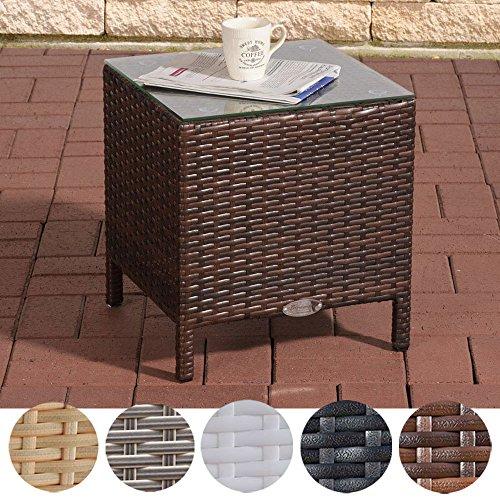 CLP Polyrattan Beistelltisch VILATO mit Aluminiumgestell und Glasplatte | Wetterfester Gartentisch aus UV-beständigem Kunststoffgeflecht | In verschiedenen Farben erhältlich