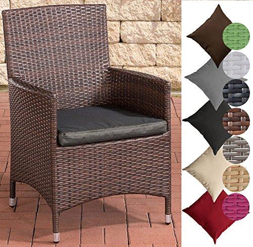 CLP Polyrattan-Gartenstuhl JULIA mit robustem Untergestell aus Aluminium | Gartenstuhl mit Sitzkissen | In verschiedenen Farben erhältlich