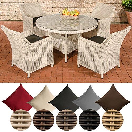 CLP Polyrattan-Sitzgruppe BOVINO inklusive Polsterauflagen | Garten-Set bestehend aus einem runden Esstisch mit einer pflegeleichten Tischplatte aus Glas und vier Sesseln | In verschiedenen Farben erhältlich