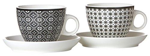 Ritzenhoff & Breker 083323 Kaffeebecher-Set Maya, 6-teilig, 300 ml, Porzellangeschirr, weiß/schwarz