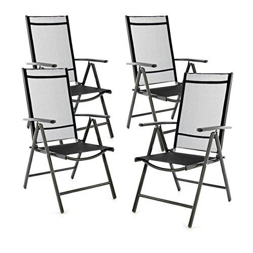 SONLEX 4er Set Klappstuhl Klappsessel Gartenstuhl Campingstuhl Liegestuhl – Sitzmöbel – klappbarer Stuhl aus Aluminium & Kunststoff - schwarz (Textilene)/anthrazit (Rahmen)