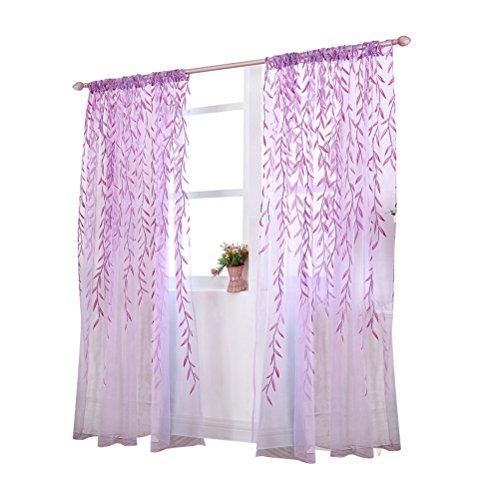 WINOMO Transparente Voile Vorhänge Gardine Schal Dekoschal für Schlafzimmer Wohnzimmer Blätter Druck 100x200cm