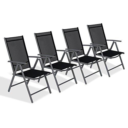 CCLIFE Alu Klappstuhl Klappstühle Gartenstuhl Aluminium Campingstuhl Hochlehner mit Armlehne 7-Fach Verstellbar, Farbe:Dunkelgrau, Größe:4er-Set