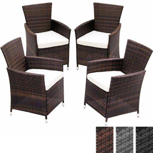 Miadomodo Polyrattan Gartenmöbel Rattanmöbel Stühle inkl. Sitzkissen in 2er-Set und 4er-Set in der Farbe nach Ihrer Wahl