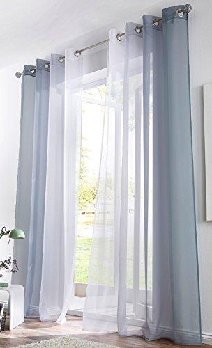 BAILEY JO 2er-Pack Gardinen mit Verlauf-Farben Muster Vorhang Transparent Voile Vorhänge (BxH 140x225cm, grau mit Ösen)