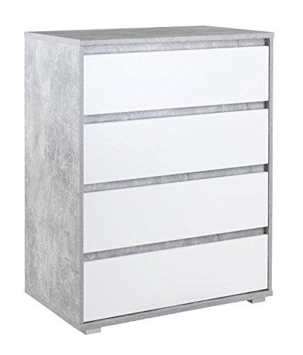 Highboard Kommode Mehrzweckschrank IDOLA 22 | Dekor | Weiß | Betonoptik | 4 Schubladen