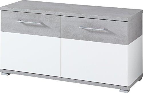Germania 3772-531 Schuhbank GW-Topix in Weiß/Beton-Optik, 96 x 51 x 40 cm (BxHxT)