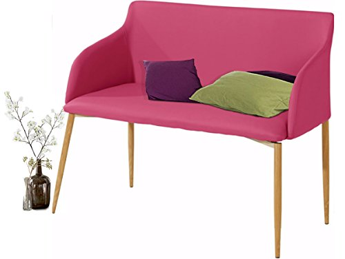 Loft24 NONI Sitzbank Sofabank Polsterbank Sofa Couch 2 Sitzer, 106 cm Kunstleder gepolstert Holzbeine Skandinavisch (Farbauswahl: schwarz, pink, cappuccino, grau)