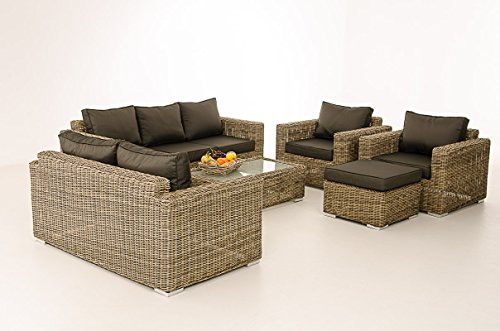 Mendler 3-2-1-1 Sofa-Garnitur CP050 Lounge-Set Gartengarnitur Poly-Rattan ~ Kissen Anthrazit, Natur