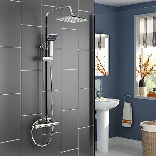Panana mehrfunktional Duschsystem mit Thermostat Chrome Eckig Duschbrause Handbrause Brause Duscharmatur Überkopfbrause Regendusche Regenbrause mit Duschpaneel - Eckig