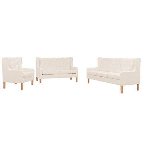 vidaXL Sofa Set 3-tlg. Stoff Cremeweiß Sofagarnitur Couch Polstersofa Sessel
