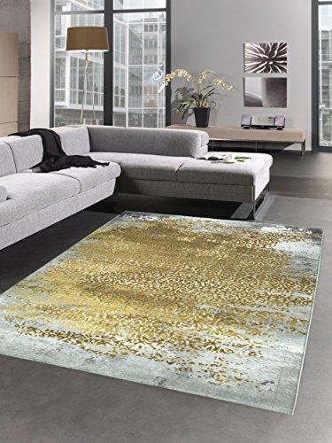 Moderner Teppich Antik Vintage Ornamente grau senfgelb gold