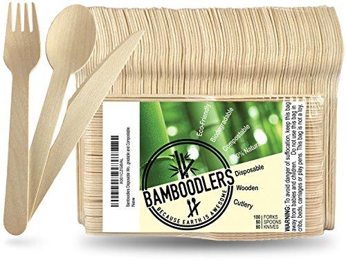 Bamboodlers Einwegbesteck Set aus Holz | 100% Natürlich, Umweltfreundlich, Biologisch abbaubar und Kompostierbar -Der Umwelt zuliebe! – 200er Pack, 16,5cm Besteck (100 Gabeln, 50 Löffel, 50 Messer)