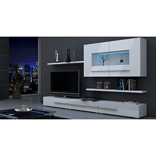 JUSTyou Jet Set LED Wohnwand Anbauwand Schrankwand (HxBxT): 161x240x42 cm Weiß Matt/Weiß Hochglanz