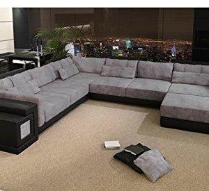Leder Wohnlandschaft XXL schwarz / grau Stoff Sofa Couch U-Form Designsofa Ecksofa mit LED-Licht Beleuchtung HANNOVER