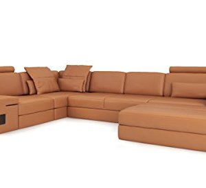 Ledersofa orange cognac Wohnlandschaft Leder Sofa L-Form Eck Couch Ledercouch Ecksofa Designersofa mit Beleuchtung HAMBURG II
