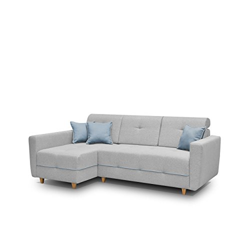 Mirjan24  Ecksofa Eckcouch Grey! Sofa Couch mit Bettkasten und Schlaffunktion, Hochelastischer Schaumstoff HR, Funktionssofa L-Form Schlafsofa Bettsofa (Ecksofa Links, Enzo 162 + Enzo 154)