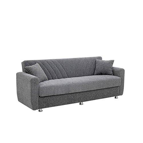 Mirjan24  Sofa Prime, Schlafsofa, Couch, Polstersofa, Sofagarnituren, Couchgarnitur, Komfortsofa, Wohnzimmer (Ecem Grey)