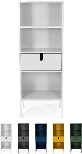 Tenzo 8562-001 UNO Designer Regal, 1 Schublade, Weiss lackiert, MDF + Spanplatten, matt Soft-Close Funktion, 152 x 56 x 37 cm (HxBxT)