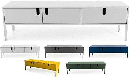 Tenzo UNO 8571-001 Designer Lowboard 2 Türen, 1 Schublade Lackiert, MDF + Spanplatten, matt Soft-Close Funktion, Weiss, 50 x 171 x 46 cm (HxBxT)
