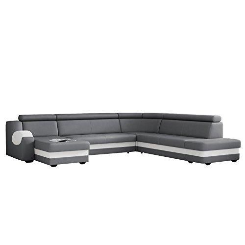 große Ecksofa Sofa Eckcouch Couch mit Schlaffunktion und Bettkasten mit Hocker Ottomane U-Form Schlafsofa Bettsofa Polstergarnitur Wohnlandschaft - MATT U (Ecksofa Links, Grau)