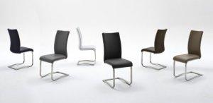 2-er-Set Stuhl, Esszimmerstuhl, Metallschwinger, Freischwinger, Schwingstuhl, Schwinger, Leder, braun, schwarz, grau, weiss, blau