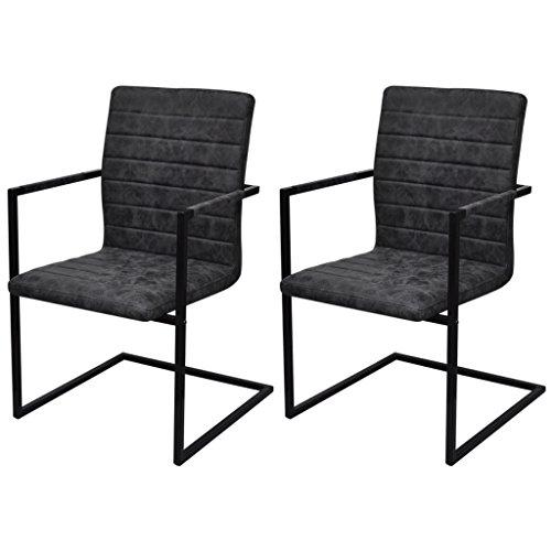 Festnight 2er-Set Freischwinger Esszimmerstühle Essstuhl Küchenstuhl mit Armlehnen Schwingstuhl Schwarz geriffelt