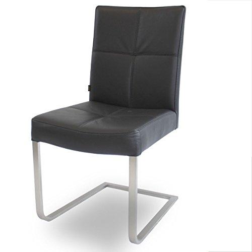 Unbekannt Freischwinger Lederstuhl Libero Edelstahl Stuhl Leder-Stühle Rindsleder Schwarz