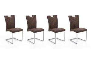 Woodkings 4 x Freischwinger Schwingstuhl Reefton, Stoff braun, Vintage, Esszimmerstuhl modern, Edelstahloptik, Stuhl mit Griff, Designstuhl, Metallstuhl, Küchenstuhl 4er Set günstig