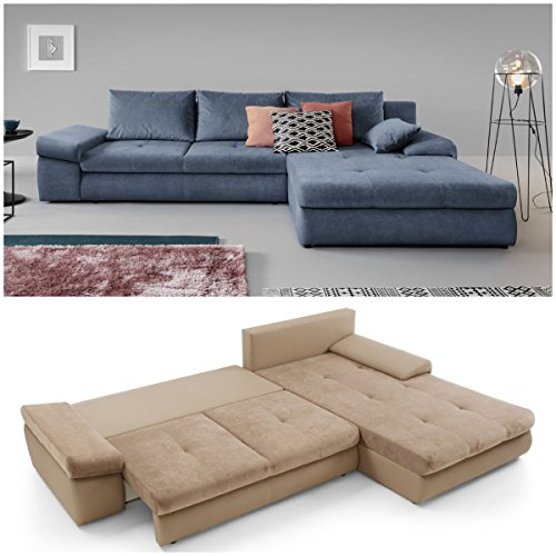 Moebella Ecksofa mit Schlaffunktion und Bettkasten XXL Baldo Designer Schlafcouch Sofa Bettfunktion