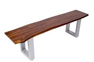 SAM Sitzbank IDA, Akazien-Holz, Massive Holzbank, Echte Baumkante, Bank mit lackierten Metallbeinen
